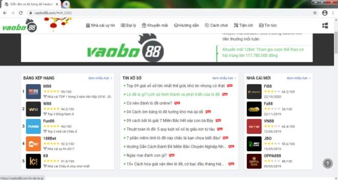 Trang web chính thức của vaobo88.com